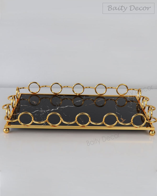 Black & Gold Marble Rectangle Tray (4608155582521)