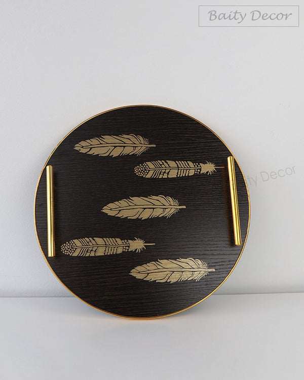 Black and Gold Leaf Round Tray (4608125632569)