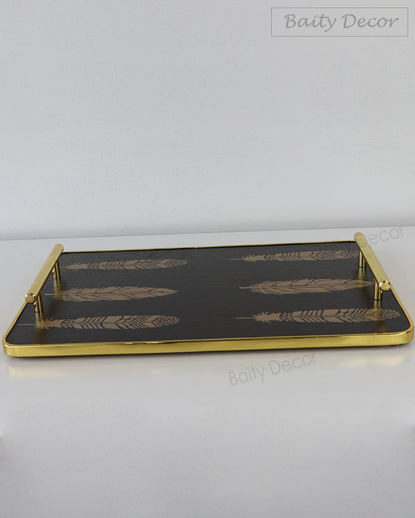 Black and Gold Leaf Rectangle Tray (4608093749305)