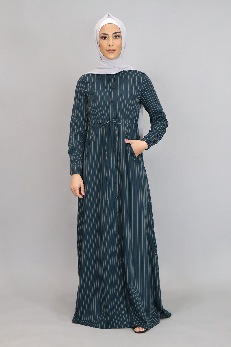 Dark Teal Striped Buttoned-Down Maxi Dress (4547979247673)