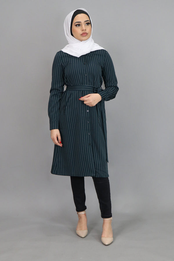 Teal Striped Long Tunic (4547237347385)