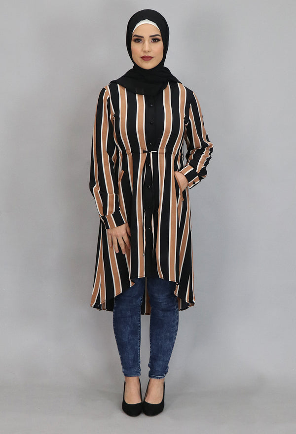 Caramel Striped Buttoned-Down Tunic Dress (4364296454201)
