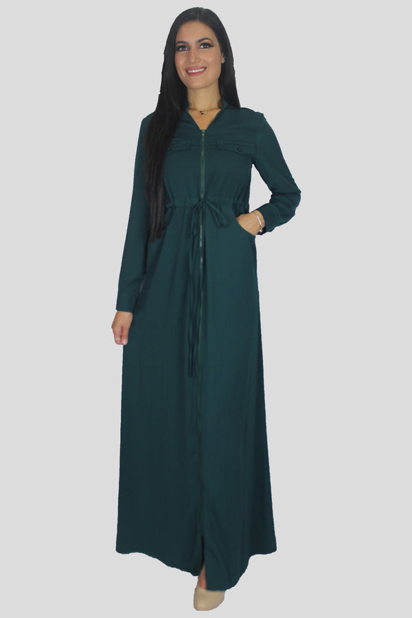 Dark Teal Zipper-Down Maxi Dress (696853200953)