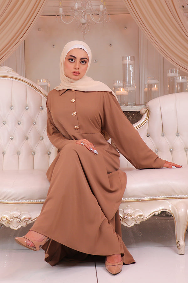 Deluxe Soft Batwing Dress- Camel
