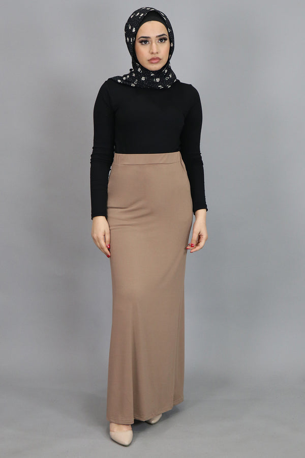 Tan Spandex Maxi Skirt (4537001377849)