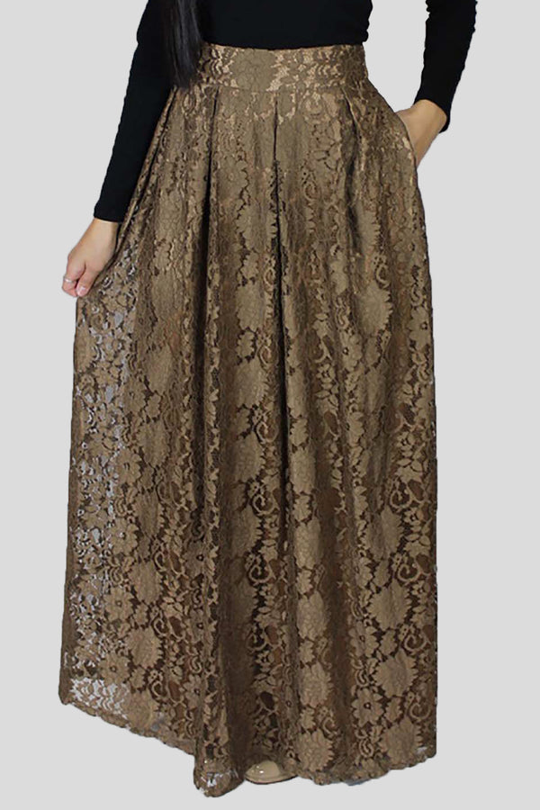 Tan Lace Folds Skirt (667019116601)