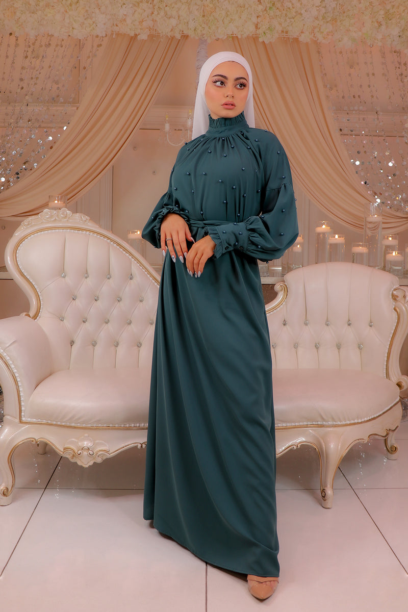 Deluxe Soft Pearl Dress- Teal