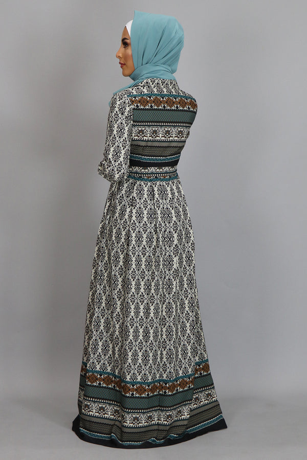 Beige Aztec Chiffon Folds Maxi Dress (2381492322361)