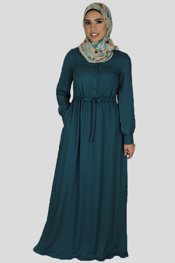 Teal Chiffon Button Maxi Dress (696625856569)