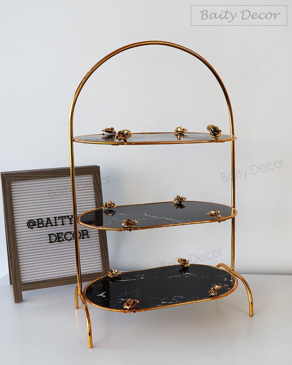 Black Marble and Gold Flowers 3 Tier Stand (4608220069945)