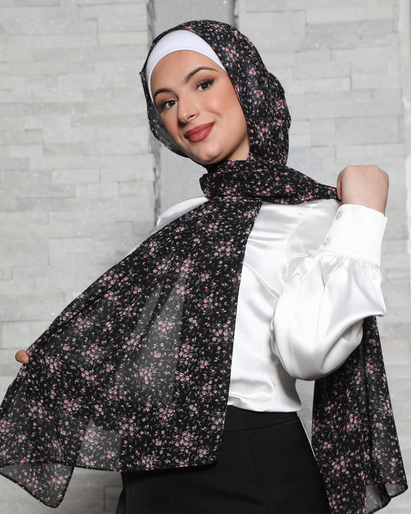 Black Floral Chiffon Bubble Scarf
