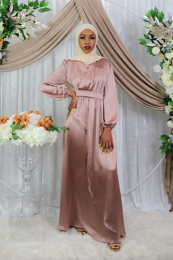 LaMeera Wrap Satin Dress - Dusty Rose