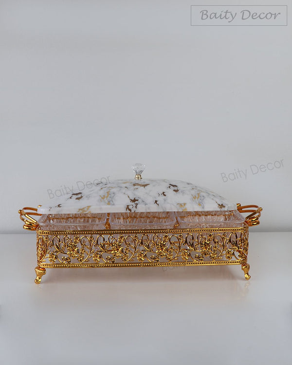 6 Compartment Gold Tray with Lid (4608152469561)
