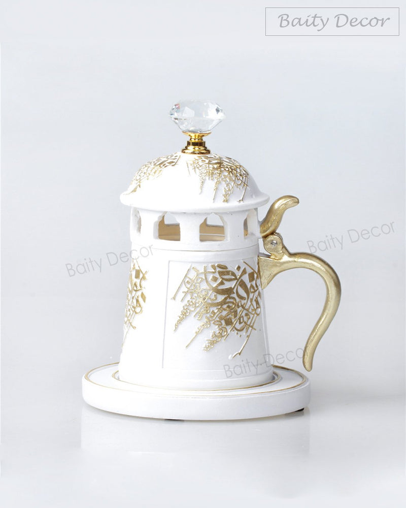 White and Gold Bakhoor Burner (4608208502841)