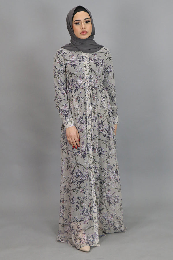 Lavender Floral Buttoned-Down Maxi Dress (4547967287353)