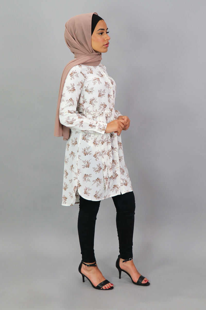 Off White Floral Long Blouse (4547269918777)