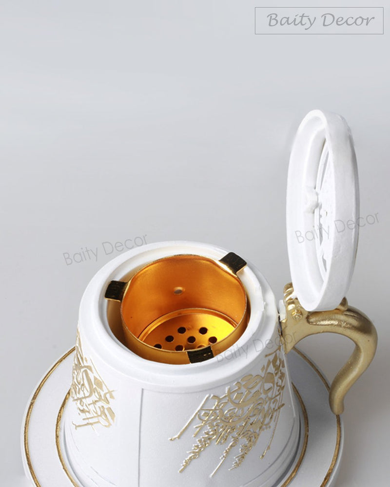 White and Gold Bakhoor Burner (4608180453433)