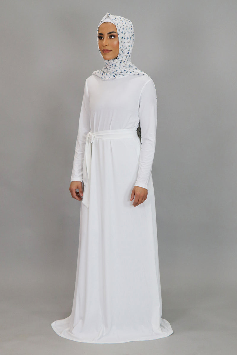White Long Sleeve Spandex Maxi Dress (4534802645049)