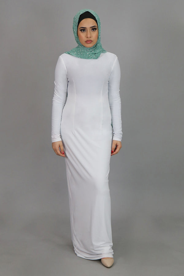 White Plain Fitted Spandex Maxi Dress (4540257534009)