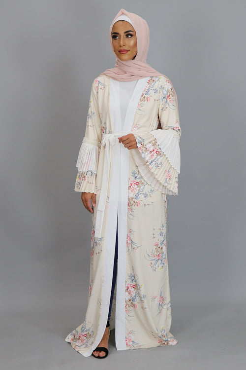 Cream Floral Double Bell Cardigan Dress