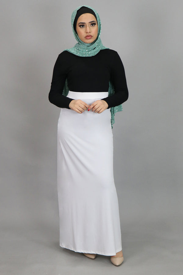 White Spandex Maxi Skirt (4536996134969)