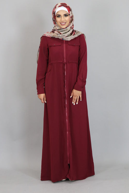 Wine Red Zipper-Down Maxi Dress