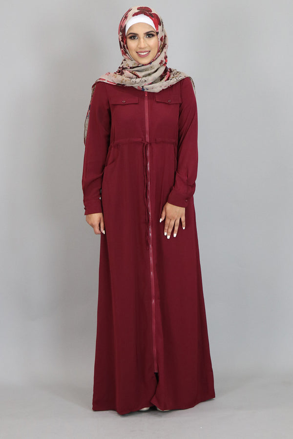 Wine Red Zipper-Down Maxi Dress (2310729334841)