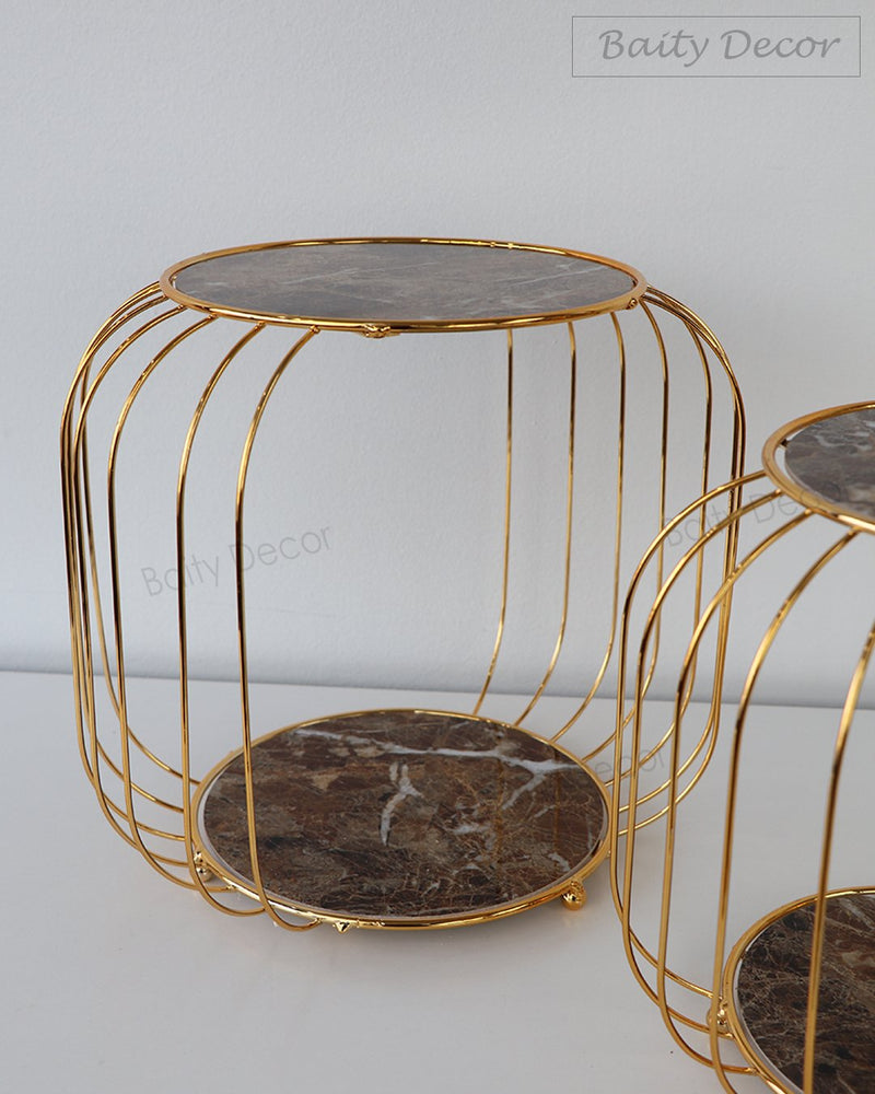 2 Tier Brown Marble Stands Set (4608168460345)
