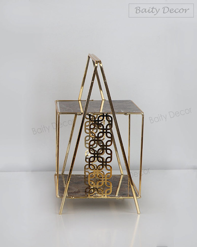 2 Tier Brown and Gold Stands Set (4608168329273)