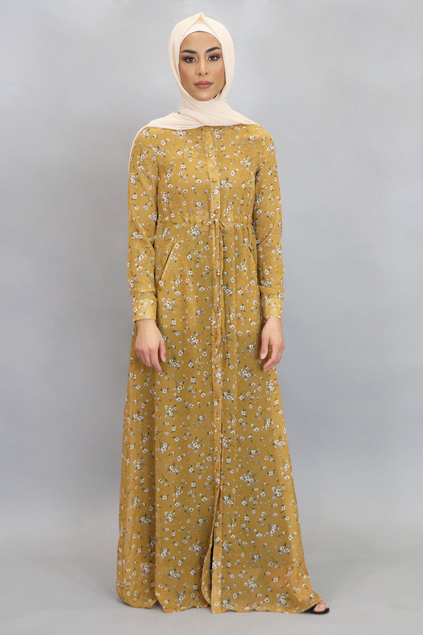 Yellow & Denim Blue Floral Buttoned-Down Maxi Dress (4547959226425)