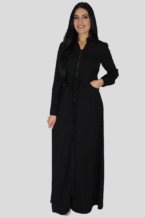 Black Zipper-Down Maxi Dress (696844058681)