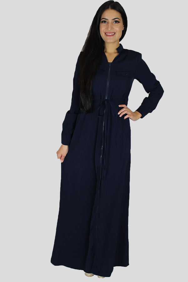 Navy Blue Zipper-Down Maxi Dress (696820531257)
