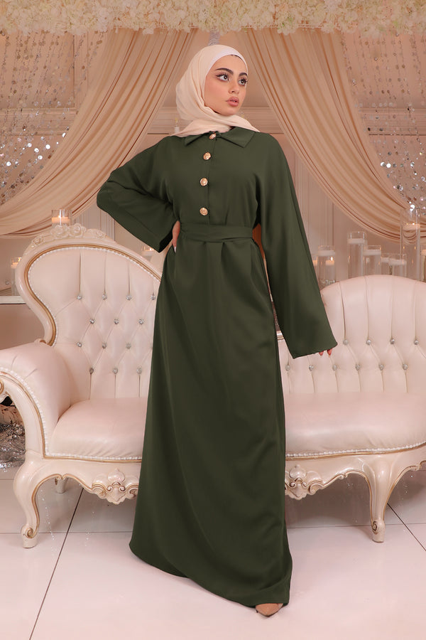 Deluxe Soft Batwing Dress- Army