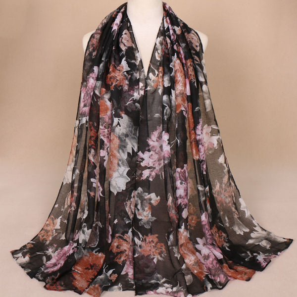 Black Floral Cotton Scarf (1488303423545)