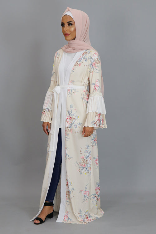 Cream Floral Double Bell Cardigan Dress (2381751189561)