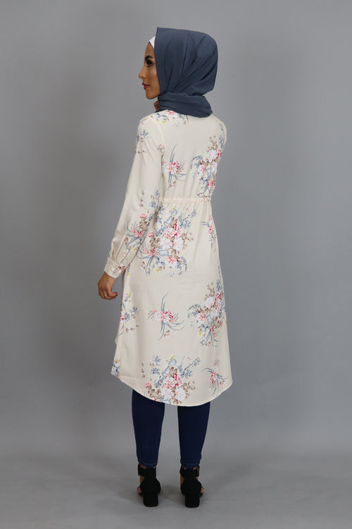 Beige Floral Buttoned-Down Tunic Dress