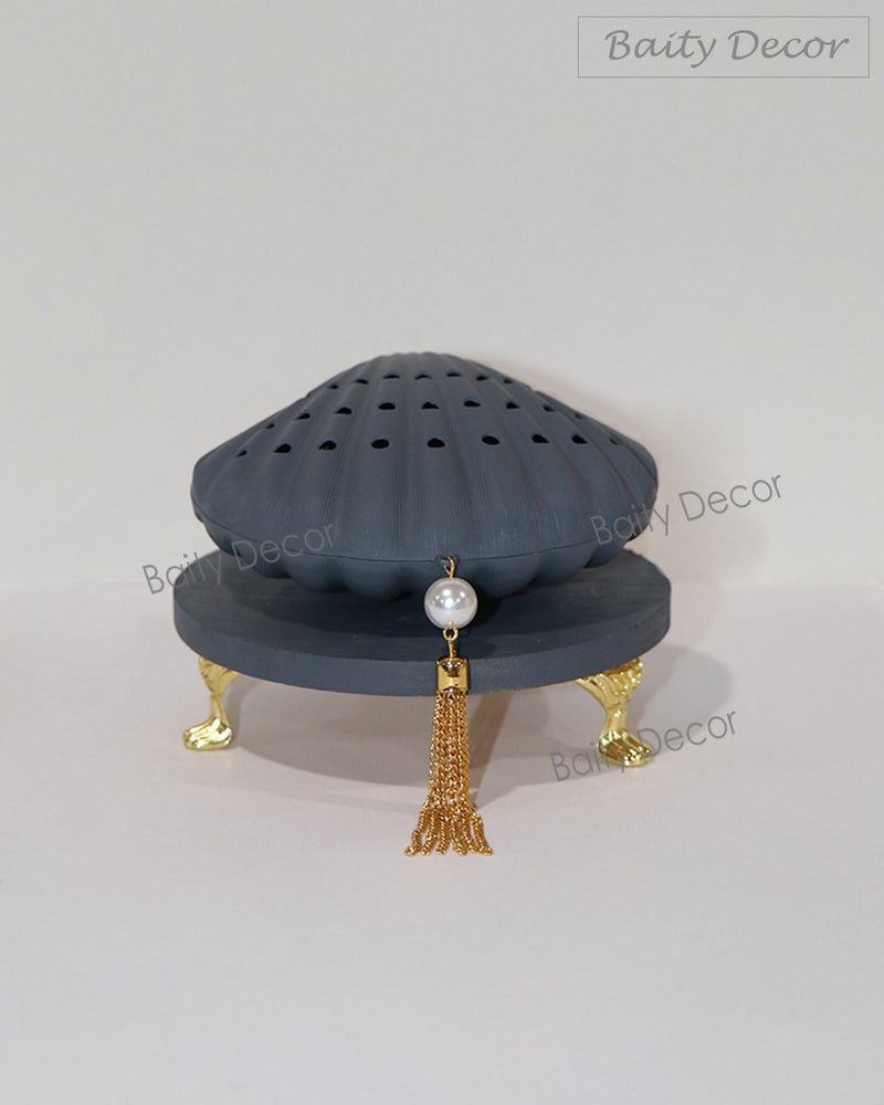 Blue Gray Pearl Shell Bakhoor Burner (4608424345657)