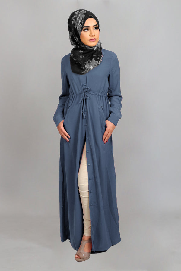 Stormy Blue Soft Buttoned-Down Maxi Dress (4644850729017)