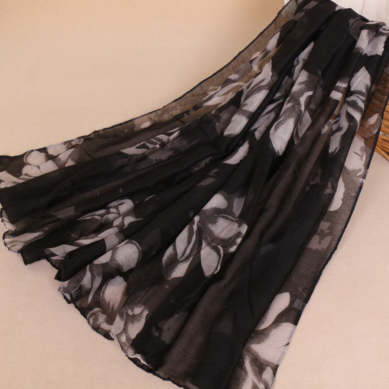 Black Floral Cotton Scarf (775966752825)