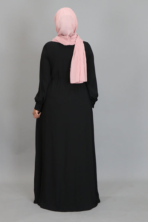 Black Chiffon Buttoned-Down Maxi Dress (2361309724729)