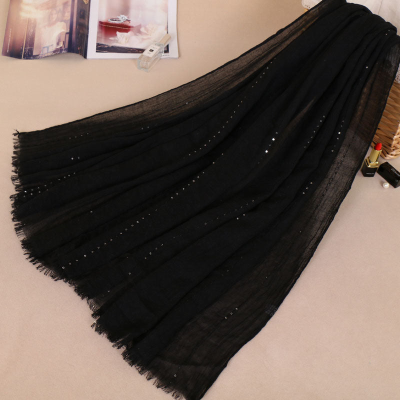 Black Shine Cotton Scarf (175453667342)