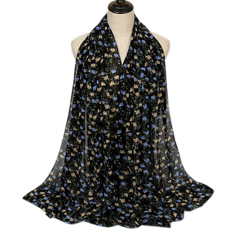 Black and Blue Gray Floral Bubble Chiffon Scarf (4654562181177)