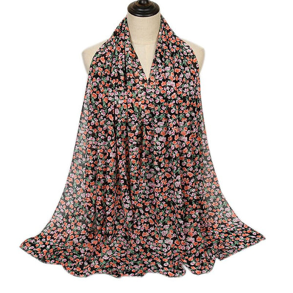 Black Floral Bubble Chiffon Scarf (4654559330361)