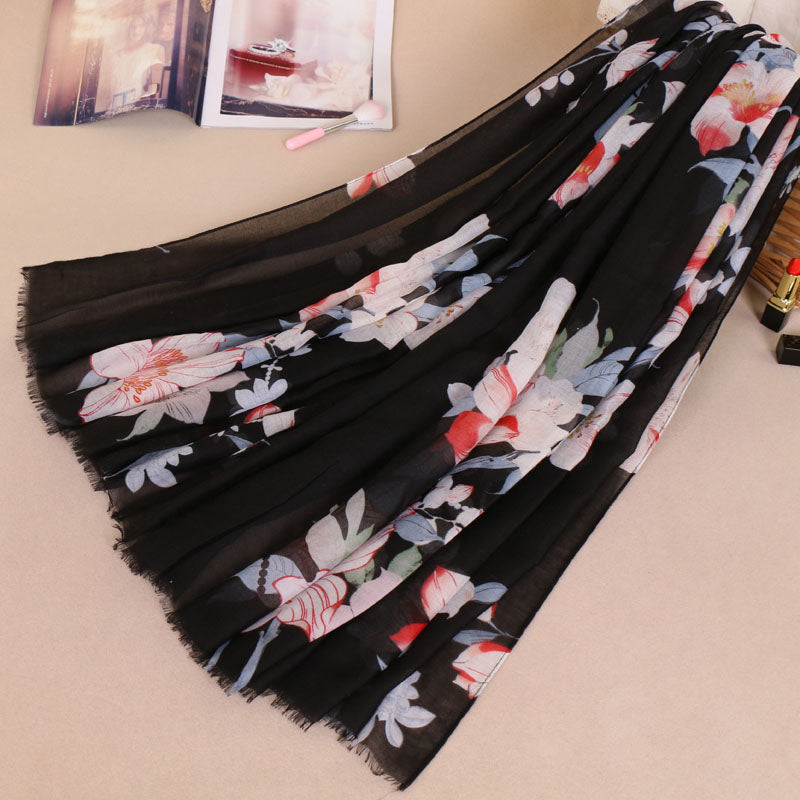 Black/Blue Floral Cotton Scarf (778087825465)