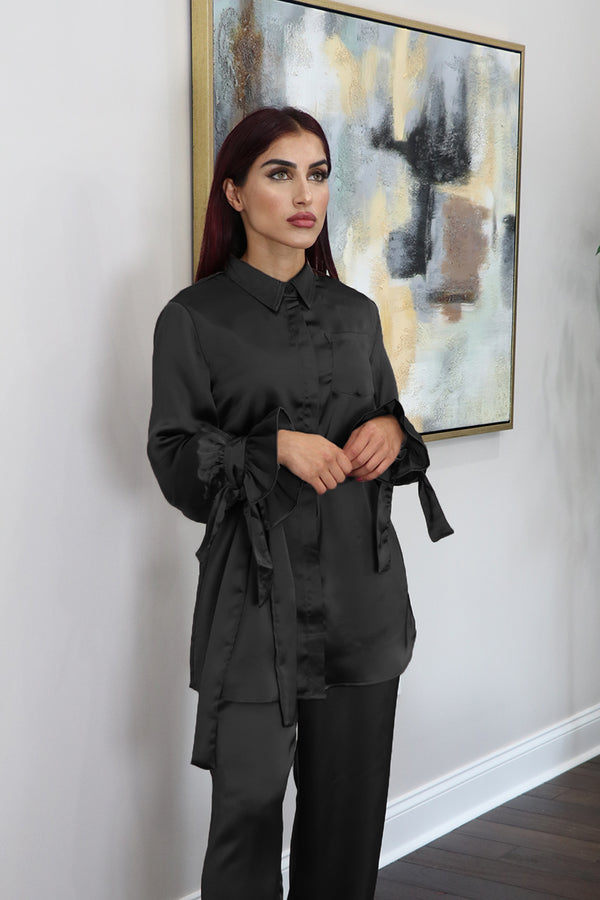 Lameera Satin Blouse Top - Black