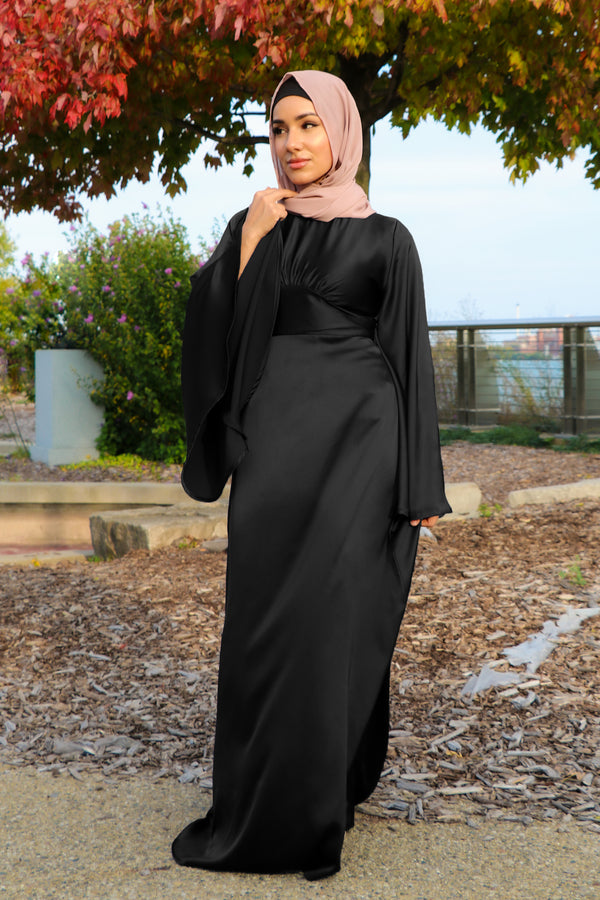 LaMeera Drape Sleeves Satin Dress - Black
