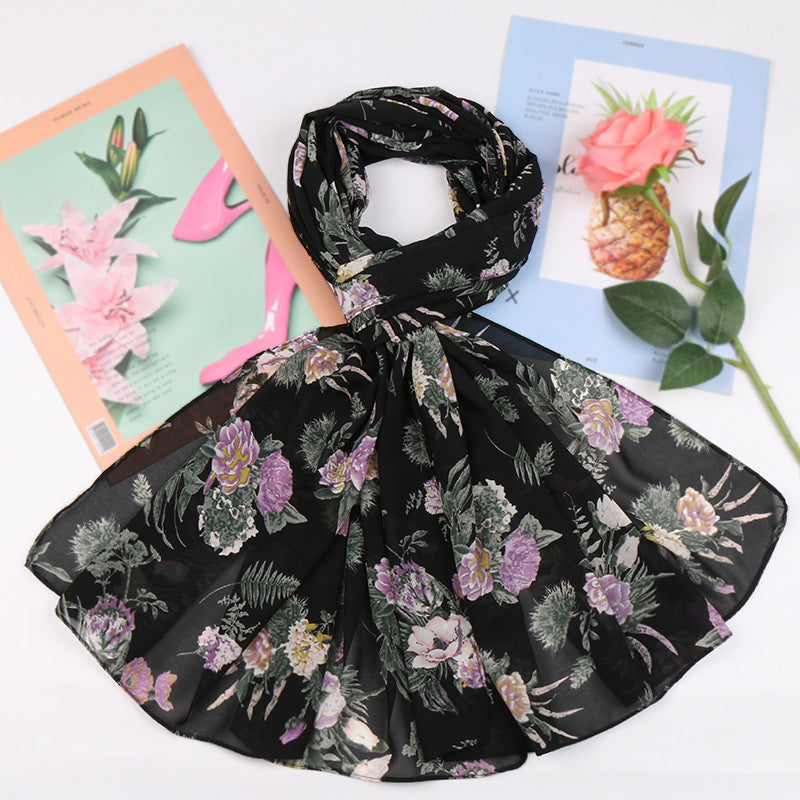 black & purple floral chiffon bubble scarf