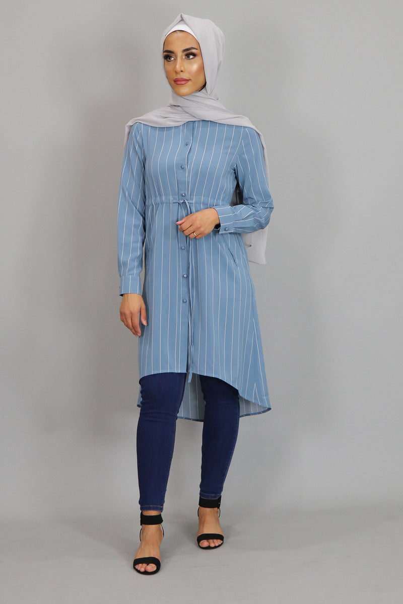 Sky Blue Striped Buttoned-Down Tunic Dress (2378871996473)