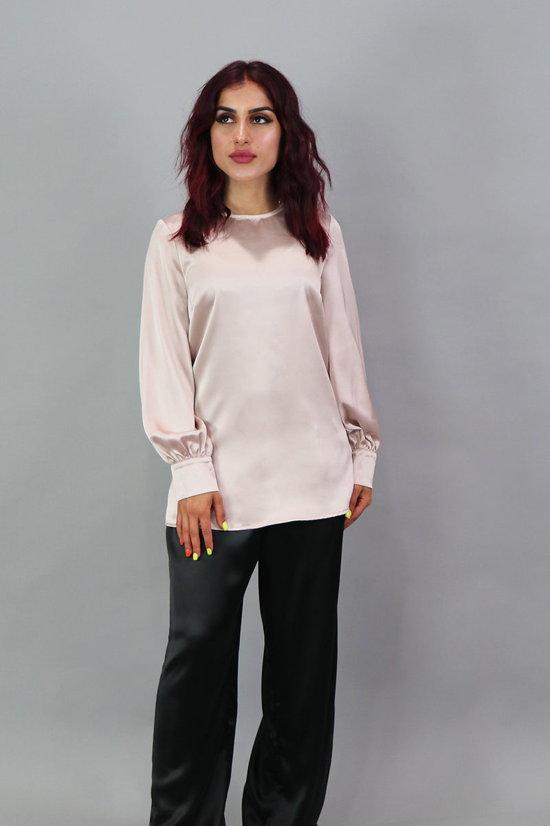 Lameera Satin Blouse - Blush Pink