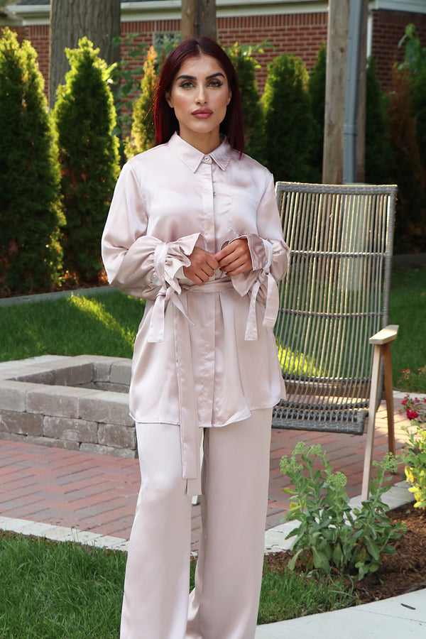 Lameera Satin Blouse Top - Blush Pink